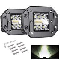 2x 12V LED Work Light Flush Mount Pods  Driving Lamp Offroad Car Truck ATV SUV