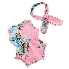 Bebé Bebé Pelele sin mangas floral Mono + Banda Para Cabeza Conjunto ropa set