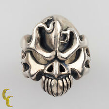 Rugged Sterling Silver FTW Kreations Skull Biker Ring Size 11.25 Great Detail!