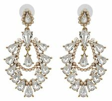 Zest Ornate Stud Top Pierced Earrings with Swarovski Crystals Golden