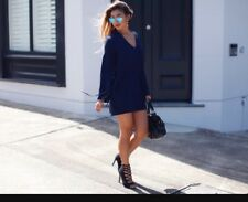 Finders Keepers Fly Away Tie Up Lace Up Navy Dress Revolve $129 Small