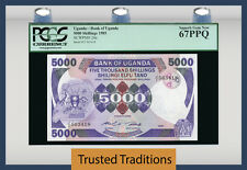 TT PK 24a 1985 UGANDA 5000 SHILLINGS PCGS 67 PPQ SUPERB GEM NEW POPULATION ONE