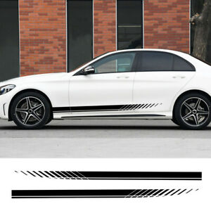 2x Racing Plaid Side Door Fender Skirt Stripes Decal Stickers for Race Car uk