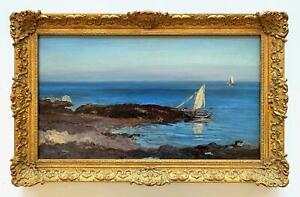 Henry Moore (British 1831-1895) -Gorey Bay, Jersey 1882 -Coastal View w/Sailboat