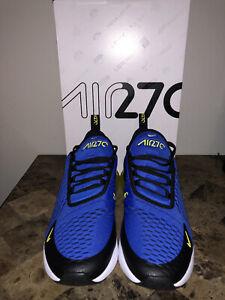 New Mens Nike Air Max 270 Sz 10 Game Royal Blue Yellow Running Shoes BV2517 400