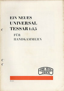 Carl Zeiss Jena Prospekt für Universal Tessar 1:3,5