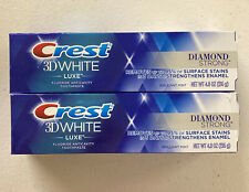 2 Pack Crest 3D White Luxe Toothpaste Diamond Strong Brilliant Mint 4.8 oz each