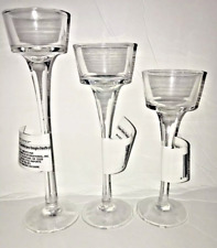 One Set of 3 Long-Stem Glass Tealight Candle holders..***Free Shipping***NEW***
