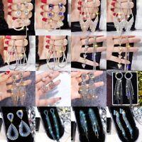 Silver Women Jewellery Crystal Tassel Earrings Ear Stud Dangle Wedding Party
