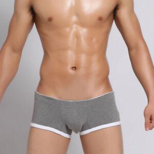 SEOBEAN Men's cotton boxer underwear Low-rise slim boxer