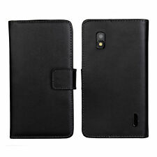 Black Genuine Leather Card Cash Wallet Case Cover For Google LG Nexus 4 E960
