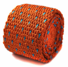 Knitted Orange & Blue Pin Spotted Mens SKINNY Tie Frederick Thomas FT1198