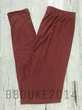 Solid Mulberry Maroon Leggings! Brushed Buttery Soft! OS Womens One Size NEW