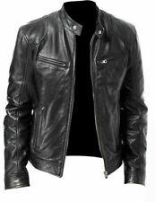 Chaqueta de Cuero Genuino Real Para Hombre Vintage Negro Marrón Slim Fit Biker