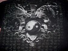 Hot-Skull-Tiger Dragon- Concert-Band-Bar Club-Goth Black Shirt-L