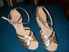 brand new SuBuDanCer dancing Shoes in size 5.5 (38) in gold and animal print
