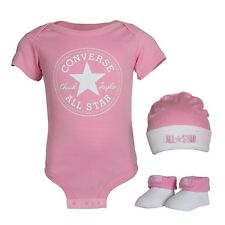 Converse Baby Girls 3-er Gift Set Body suit Hat Socks pink with gift box