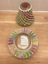 Yankee Candle Small Plate & Shade Mercury Glass Pink Green & Yellow (b11)