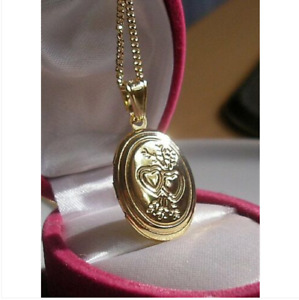 9CT GOLD GF LOCKET ON CHAIN NECKLACE SILLY PRICE 9ct gold bling 98)