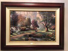 Thomas Kinkade Walk Of Faith P/P #59 125 Double Signed Brandy Frame Cert 18x24
