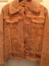 Real Rabbit Fur-lined Coat Jacket Tan