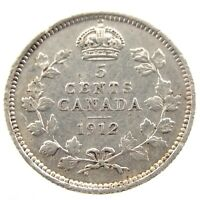 1912 Canada 5 Cents Small Silver Circulated George V Five Cents Coin P415