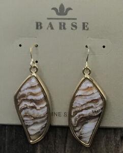 Barse Elevate Earrings - Agatized Opal- Bronze-NWT
