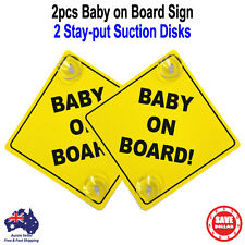 2pc Baby on Board Safe Sign, 2 Stay-put Suction Cups Yellow Plastic
