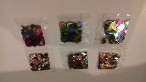 6 x Small bag of rainbow mix sequins use for chunky glitter festival make up