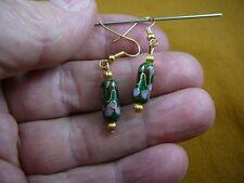 (EE605-310) 15 x 7 mm Green blue pink flower CLOISONNE bead dangle tube EARRINGS