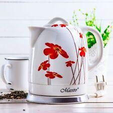 Maestro 1.5L White Electric Ceramic Cordless Kettle + uk plug Poppy