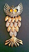 VINTAGE BOHO SILVER AND GOLD TONE OWL PENDANT