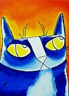 """CAT Painting Original """"Blue as Heck Sunset Kitty"""" 5 x 7 Painting Samantha McLean"""
