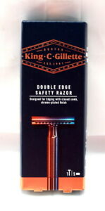 KING C GILLETTE Double Edge Safety Razor with 5 Blade Refills - BRAND NEW SEALED