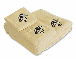 Eastern Touch 600 GSM Egyptian Cotton 6- Piece Towel Set, Ivory Eye of Horus