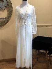 Vintage Victoria's Secret Lingerie Set Bridal Gown Robe Sequins Lace Ivory Small