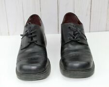 American Eagle Black Leather Lace Up Chunky Heeled Shoes Womens Size 7M