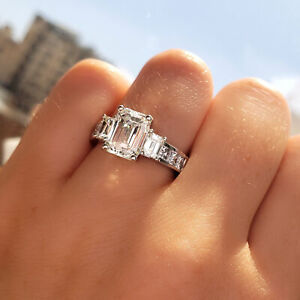 3 Stone Emerald Cut Engagement Ring Simulated Diamond Ring 4Ct Emerald Cut 3 Stone Wedding Ring White Gold Finish Silver Anniversary Gift