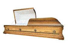 Grand Caskets - Golden Oak Solid Wood Casket, Brass, High Gloss