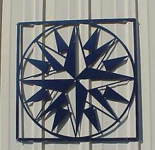 "Mariners Compass Pattern - Barn Quilt - Blue Metal 24"" x 24"" Quilt Block Sign"