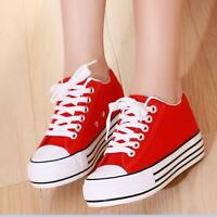 Womens Shoes Platform Lace Up Canvas Shoes Hidden Wedge Heels Sneakers Creepers