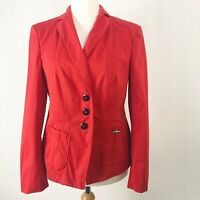 BASLER Red Fitted Cotton Blazer Jacket With Pockets UK Size 14