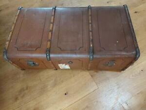Antique Vintage Bentwood Steamer Trunk Suitcase  Luggage Case Retro coffee table