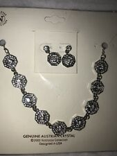 Genuine Victorian Style Australian Crystal Necklace/Earrings Bridal Prom Formals