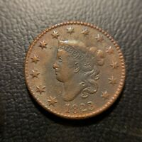 1823/2 Matron Head Large Cent XF Extremely Fine EAC Coronet 1c OverDate Key Date