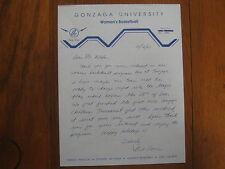 BILL  EVANS  Signed 1983 Personal  Letter GONZAGA Women's Basketball Head  Coach