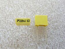 50 condensateurs MKT 220nF 63V 5% AVX TPC