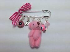 LUCKY EVIL EYE SAFETY PIN - PROTECTION FOR NEWBORN - PLUSH TEDDY BEAR  BABY GIRL