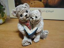 Vintage Father Bear with Baby Boy Son Reading Book Painted Carved Stone Figurine