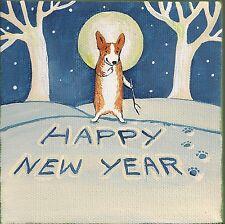 5x5 Print Of Painting Pembroke Welsh Corgi Ryta Snowman Folk Art New Year Xmas
